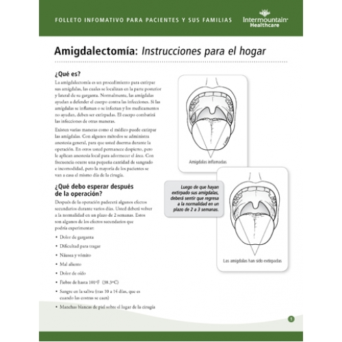 Tonsillectomy Home Instructions Spanish